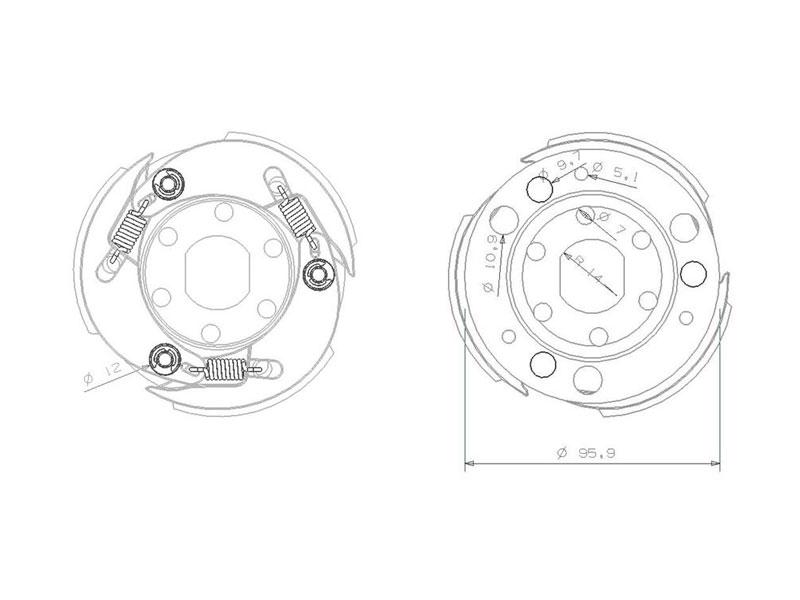 Kupplung 107mm für Aprilia SR 50 Racing LC 00-07/03