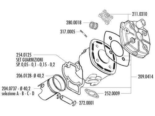 small resolution of cylinder gasket set polini evolution 50cc for minarelli lc back polini polini 50cc engine diagram