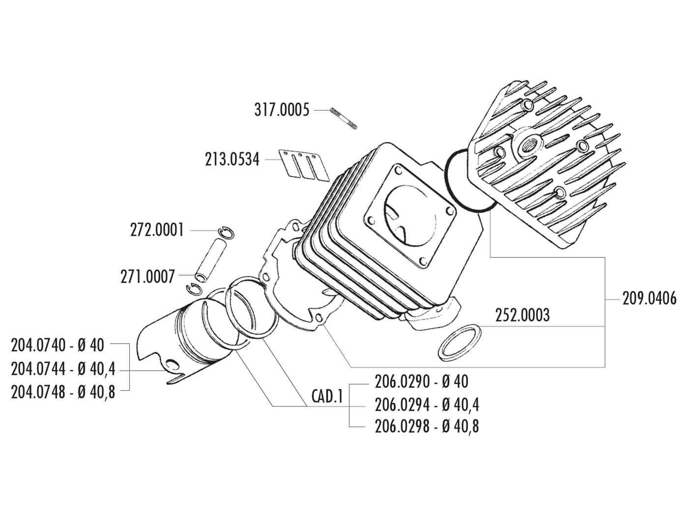 hight resolution of piston kit polini 50cc 40 4mm for peugeot vertical back polini polini 50cc engine diagram