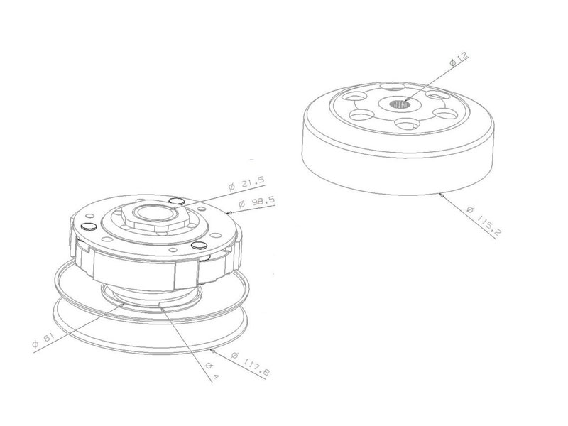 Wandler Kit mit Kupplungsglocke 107mm für Honda Lead 50