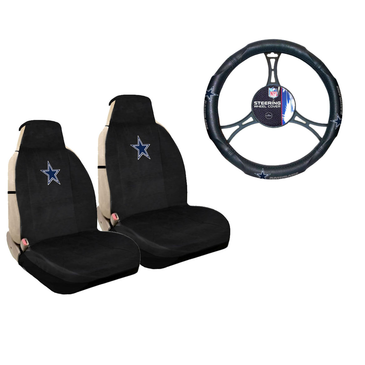 dallas cowboys chair cover metal bedroom new nfl car truck sideless seat covers steering wheel details about set