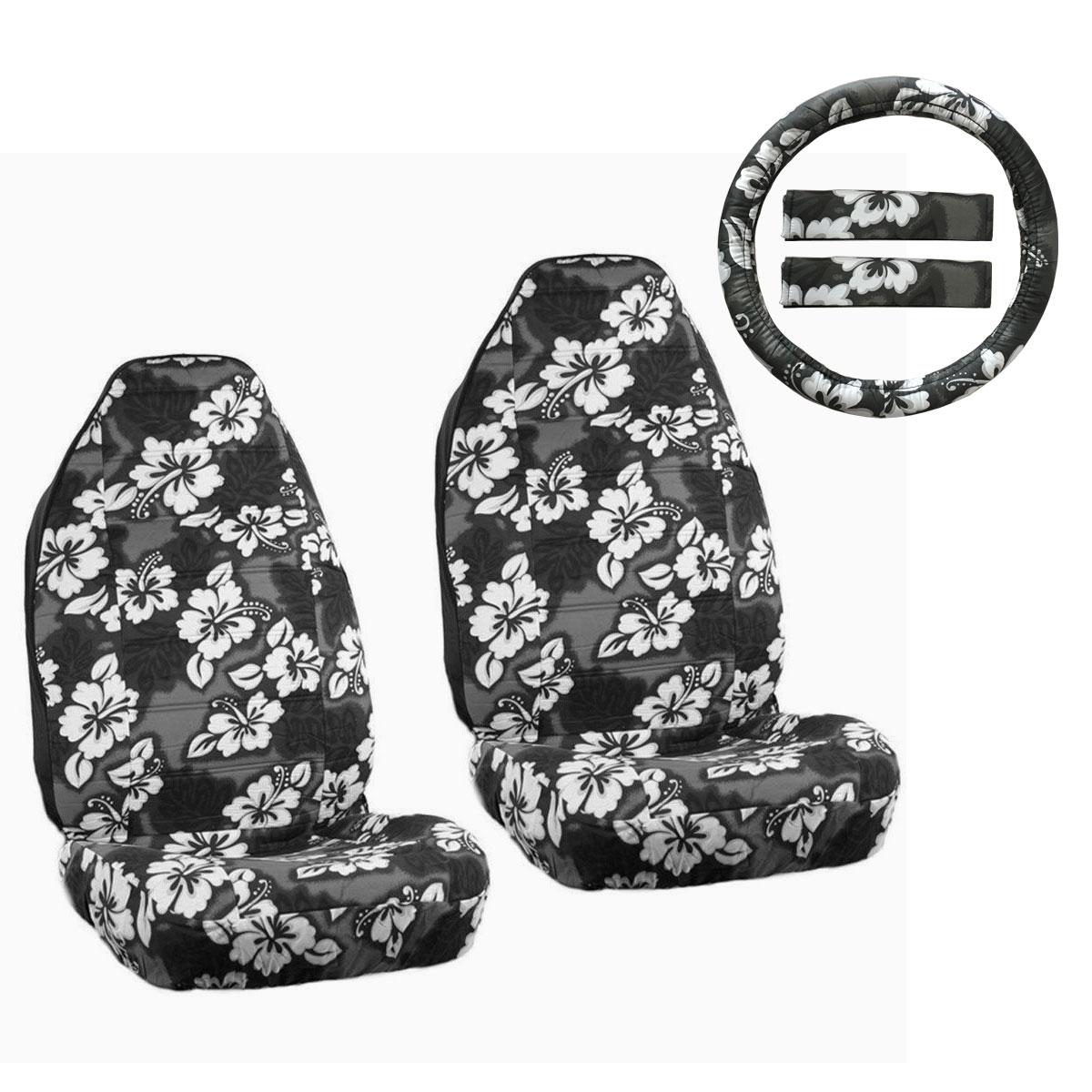 hawaiian chair covers dunelm for arms new black hibiscus floral car front seat steering details about wheel cover