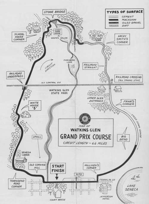 small resolution of the original 6 6 mile watkins glen circuit utilized the main road through town franklin street as the front straight the rest of the layout wound its way