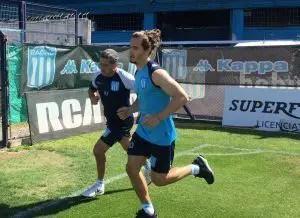 Lucas Orban en el entrenamiento de Racing.
