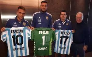 Lautaro Martínez, Cuiquito Romero, Blanco y Acuña, en la Selección.