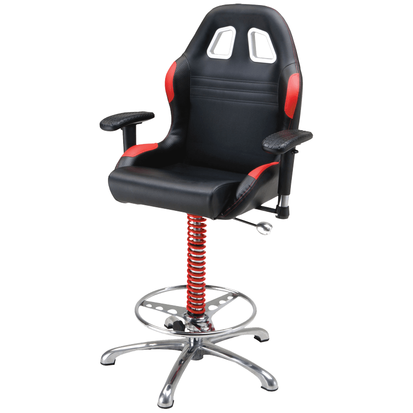 garage chair with wheels emerald green accent pitstop crew chief bar red
