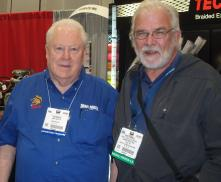 """The author (r.) with Tom """"The Mongoose"""" McEwen at SEMA 2013. McEwen is a drag racing pioneer."""