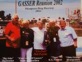 Photo shows five drag racing legends at the 2002 Gasser Reunion. Some are gone now. The 1320 Foundation needs support to interview such people.
