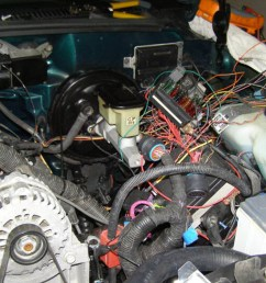 95 chevy c1500 the spaghetti of wiring they ended up with once everything was up and running  [ 1200 x 800 Pixel ]