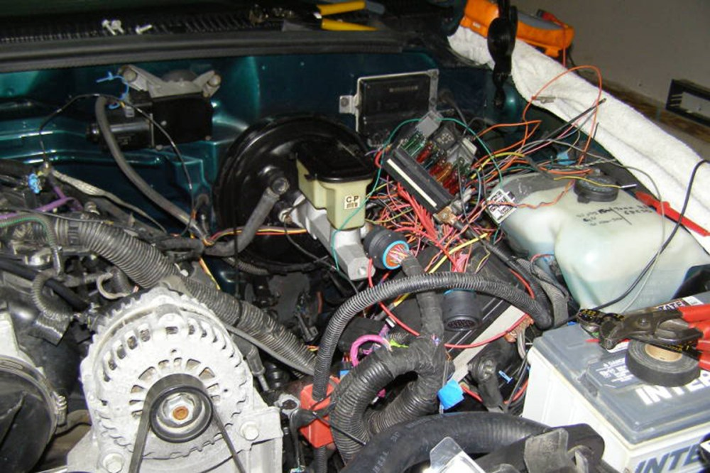 medium resolution of  95 chevy c1500 the spaghetti of wiring they ended up with once everything was up and running