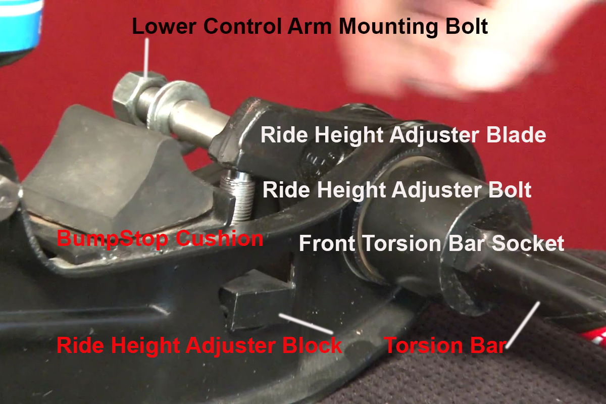 hight resolution of the front of the torsion bar assembly including the ride height adjustment mechanism image from