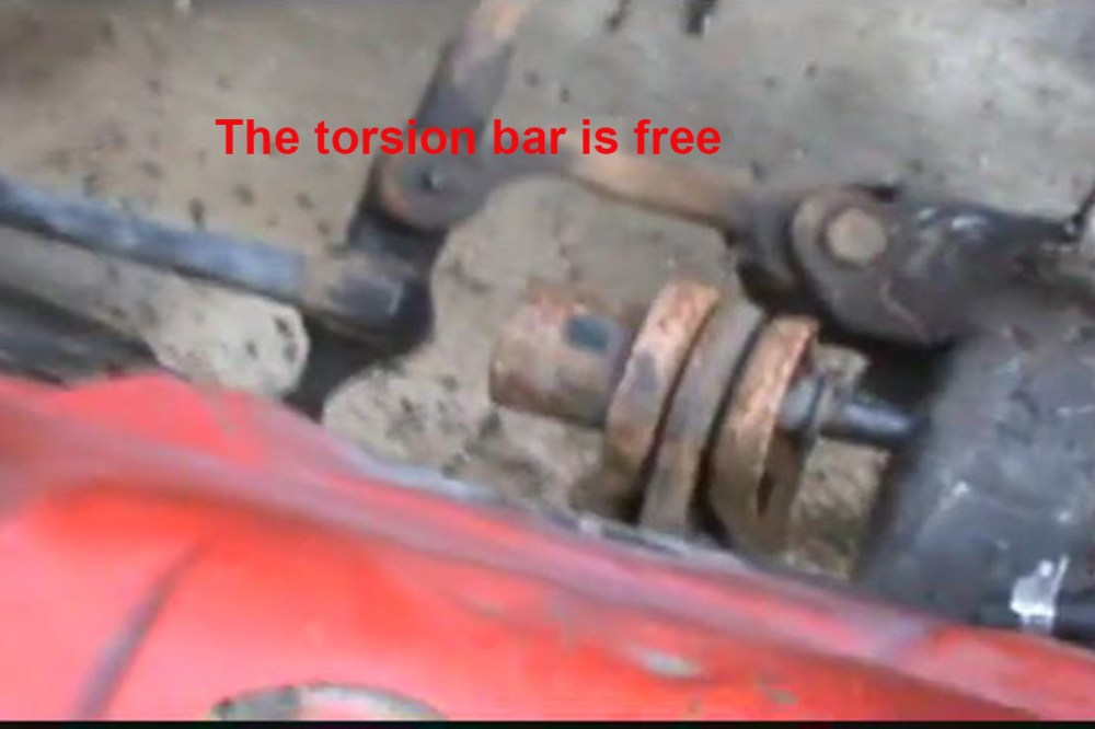 medium resolution of this image shows the front end of the torsion bar after it s been removed from the