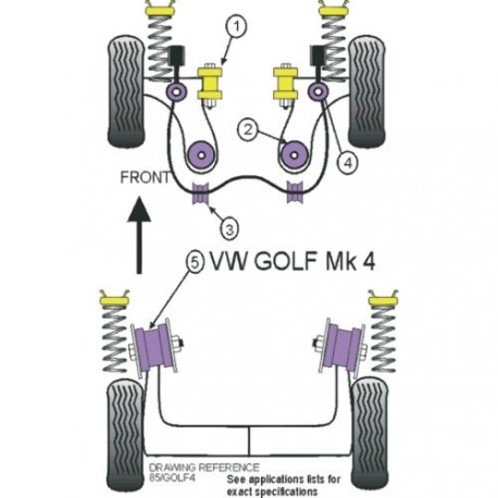 Silent-Bloc Powerflex Triangle Avant Volkswagen Golf 4