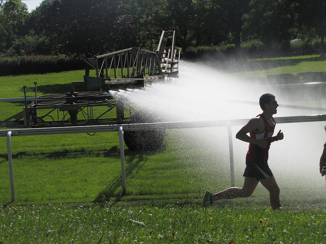 Runners narrowly miss watering system
