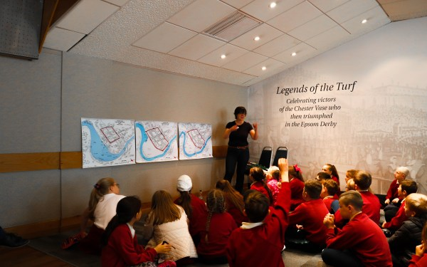 Kate Harland of West Cheshire Museum teaches children a hands-on geo-historical session to explore the changing shape of the river.