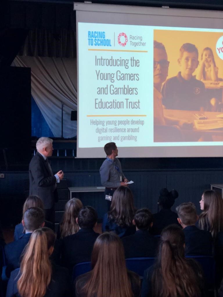 Kev Clelland at Newmarket Academy with Racing to School