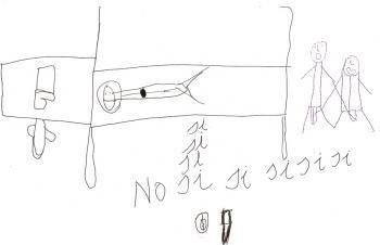 Andrea, de 10 anos representou em seu desenho os momentos do abuso em que era obrigada a tocar o abusador e ser tocada por ele.