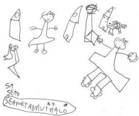 Elena, de 6 anos faz um relato comovente. Ela desenhou a mãe e a avó em tamanhos bem grandes.