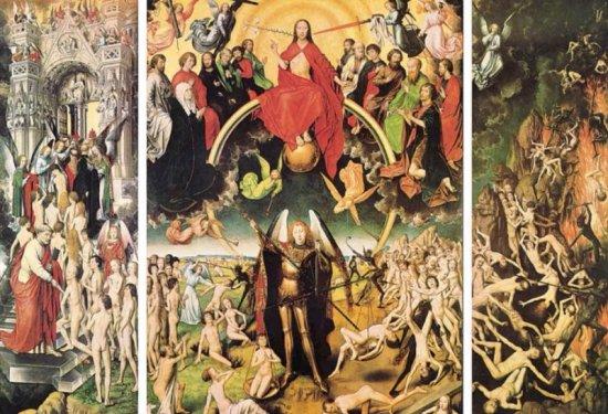 Hans Memling, Sąd Ostateczny, ok. 1467-1471. Panel, 242 x 180,8 cm i 242 x 90 cm (x 2). Muzeum Narodowe w Gdańsku