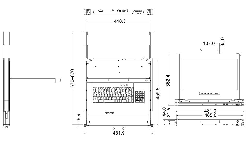 LCD1U17-36 1U Modular Dual-Rail 17