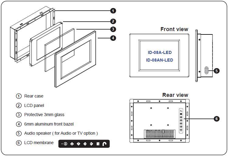 ID-08A-LED 6mm Aluminum Front Bezel 8.4