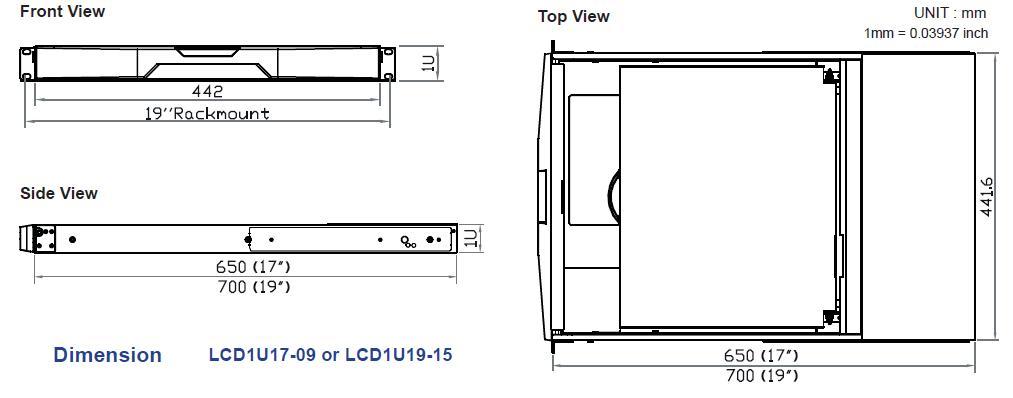 LCD1U19-15-IP 1U Rack Console 19