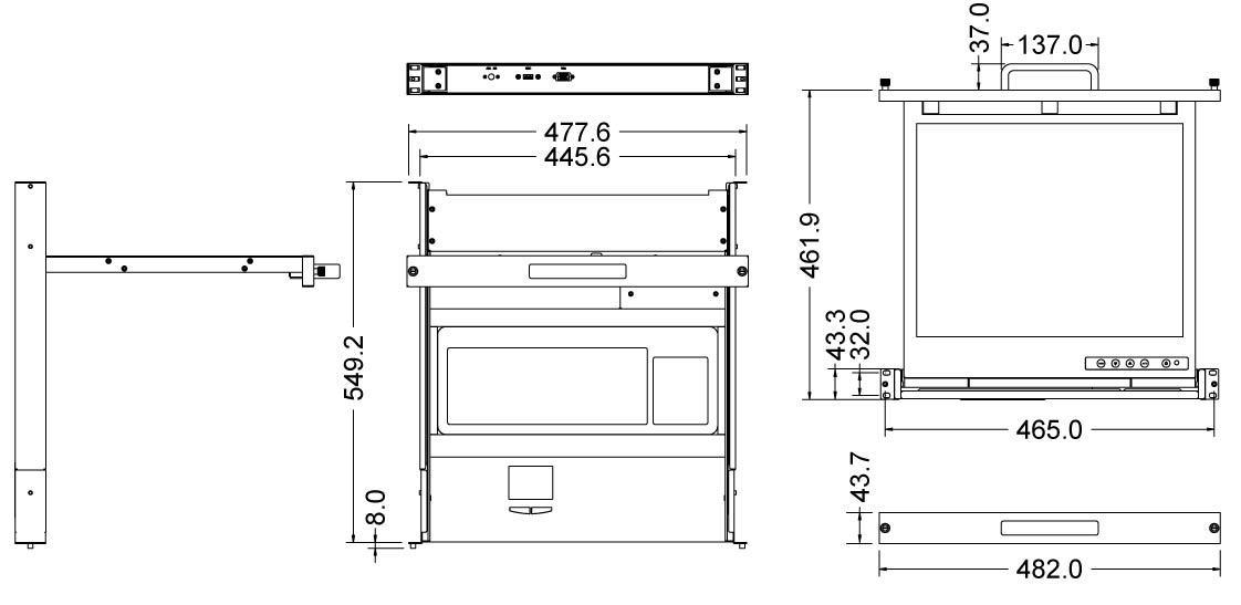 LCD1U19-16 1U single rail console 19