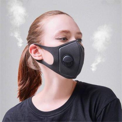 μάσκα προσώπου ενεργού άνθρακα με βαλβίδα αναπνοής