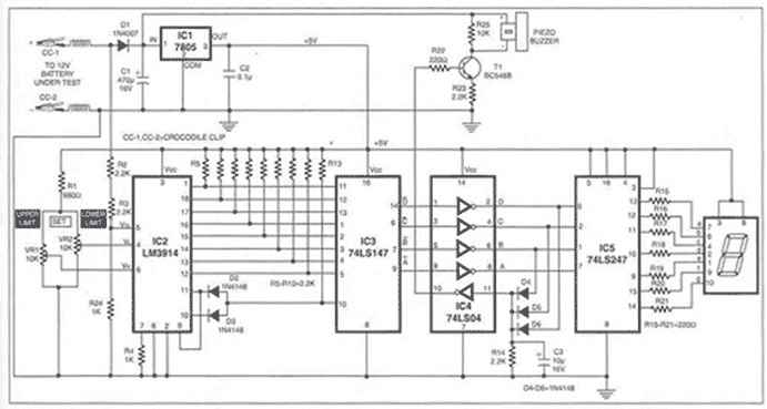 charge monitor for 12V car battery circuit diagram