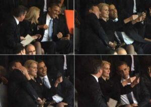 This combo of pictures shows US President Barack Obama (R) and British Prime Minister David Cameron (L) posing for a photo with Denmark's Prime Minister Helle Thorning Schmidt (C) during the memorial service of South African former president Nelson Mandela at the FNB Stadium (Soccer City) in Johannesburg on December 10, 2013. Mandela, the revered icon of the anti-apartheid struggle in South Africa and one of the towering political figures of the 20th century, died in Johannesburg on December 5 at age 95. AFP PHOTO / ROBERTO SCHMIDT