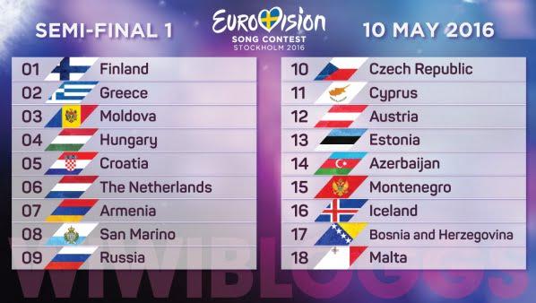 Eurovision 2016 - ordinea intrarii in concurs, semifinala 1