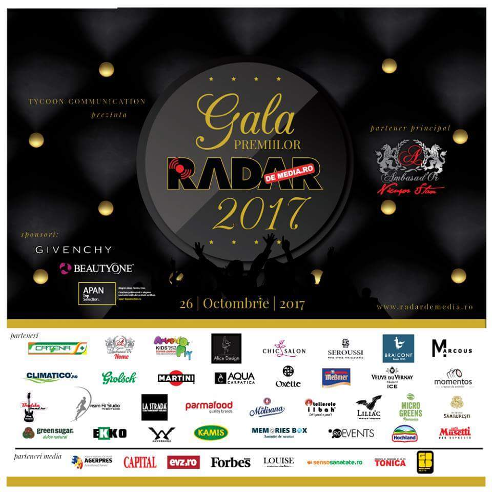 GALA PREMIILOR RADAR DE MEDIA 2017 va avea loc in data de 26 octombrie, la Ambasad'Or Events