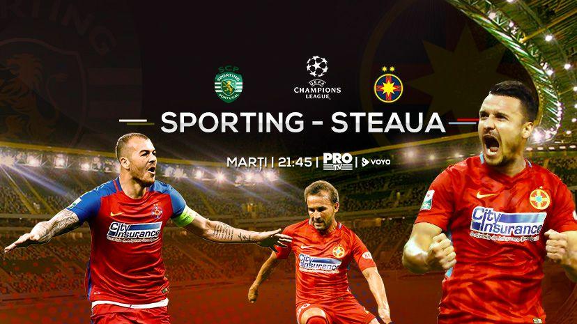 Pro TV transmite meciul dintre Sporting Lisabona și FCSB, în playoff-ul UEFA Champions League