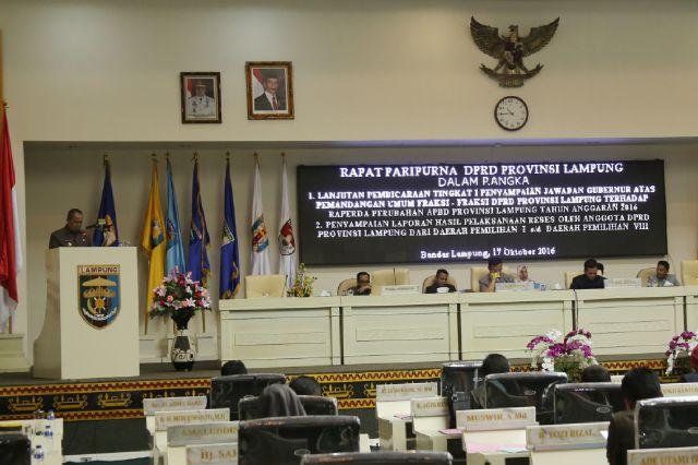 Ini Jawaban Gubernur Terhadap Pertanyaan Fraksi-Fraksi DPRD Pada Perubahan APBD 2016