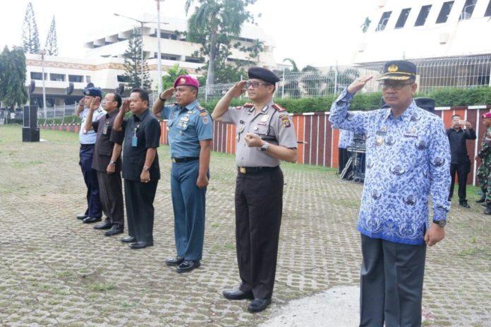 Pemprov Lampung Bersama Seluruh FORKOPIMDA Melaksanakan Upacara Gabungan