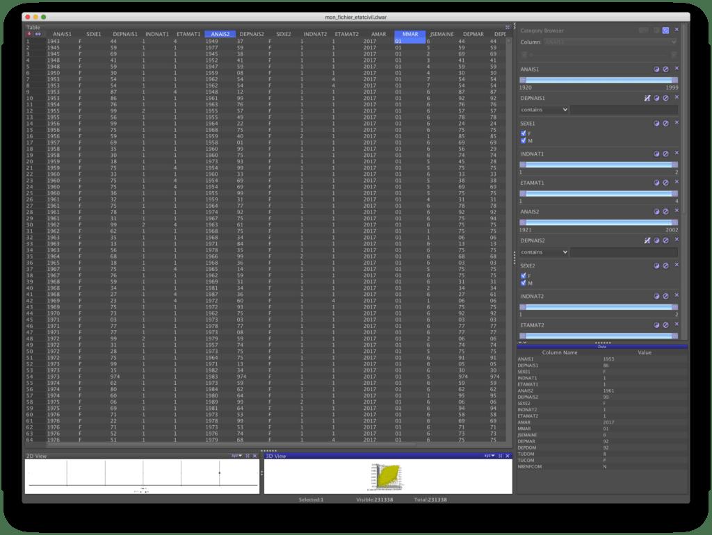 Vue de la table de données dans DataWarrior