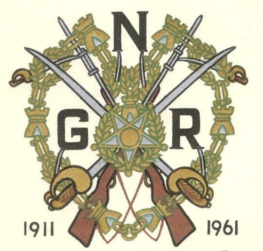 Emblem of the Portuguese National Guard, from a 1961 official first-day cover marking the 50th anniversary of its establishment.