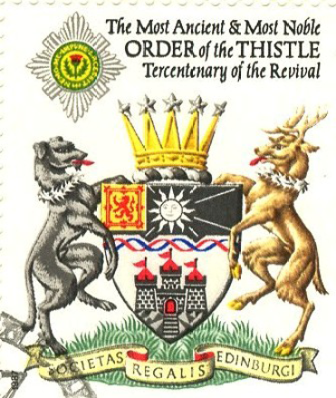 Sometimes the stamps themselves are of interest. This is a British commemorative stamp issued to honor a Scottish order of chivalry, used on a first-day cover in 1987.