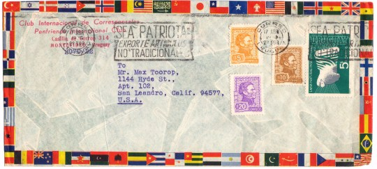 Here only the envelope itself (from a Uruguayan international pen pal club) is of interest.