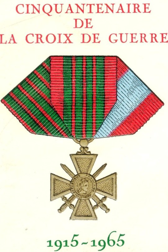 """From a French cover issued for the anniversary of the Croix de Guerre (War Cross), an important military decoration. The three ribbons represent the three versions of the decoration: that for World War I (left), for World War II (center), and for service in """"external theatres of operations,"""" mostly French colonies."""