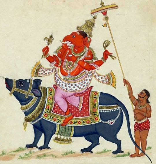 Lord Ganesha riding his rat. A Tanjore-style painting dated 1816.