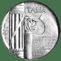 1928 Italian 20-lire piece