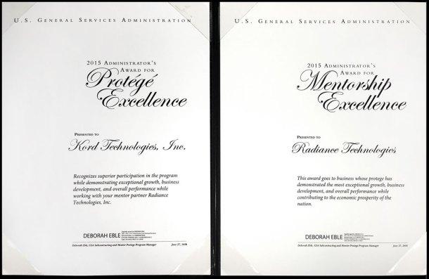 GSA protege award for Kord