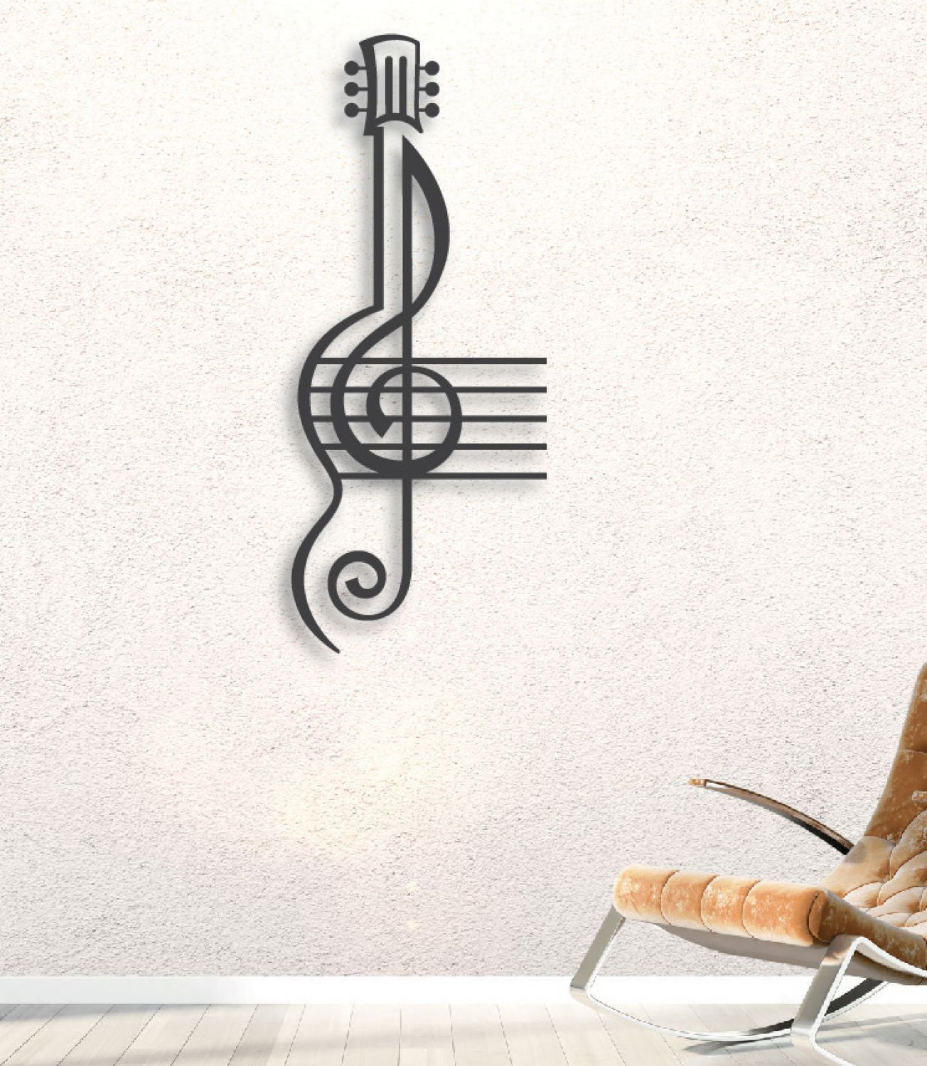 Treble Clef And Staff With Guitar Metal Sign 38 Inch Tall