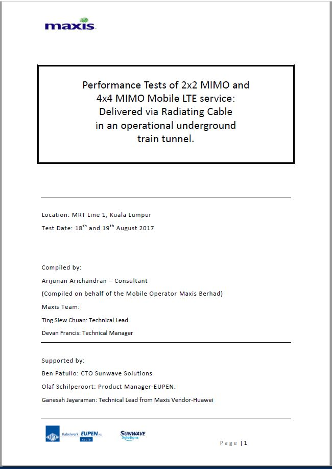 Test Report on MiMo 2×2 and 4×4 performance at the KVMRT1