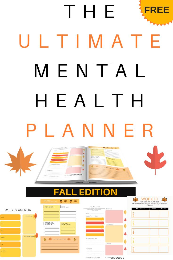 Check out this fall themed free printable DIY mental health planner. #fall #printable #mentalhealth