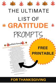 Check out this free printable of gratitude journal prompts. Perfect gratitude activity for thanksgiving #printable #journalprompts #gratitude #mentalhealth
