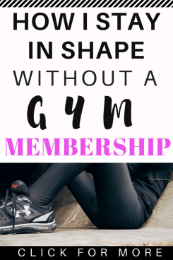 How I stay in shape without a gym membership. This workout program saves me a ton of money and helps me stay in shape with quick and easy workouts. #exercise #gym #homeworkout #healthyliving #savemoney