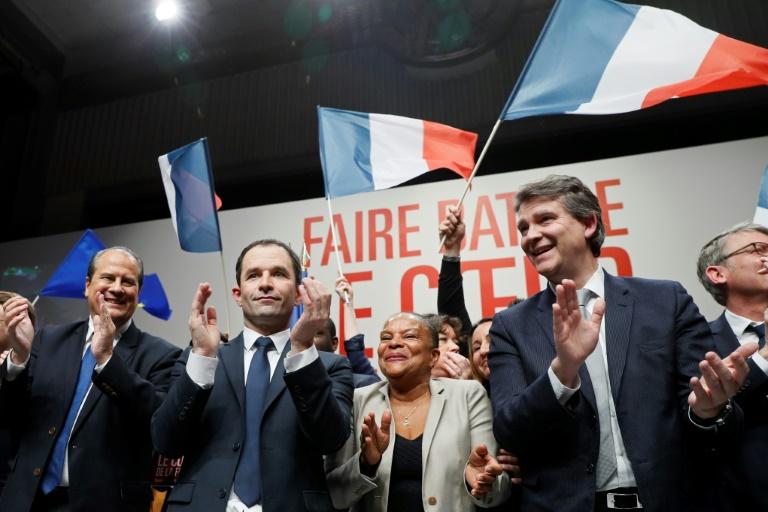 Jean-Christophe Cambadelis, Benoît Hamon, Christiane Taubira et Arnaud Montebourg le 5 février 2017 à Paris. © AFP