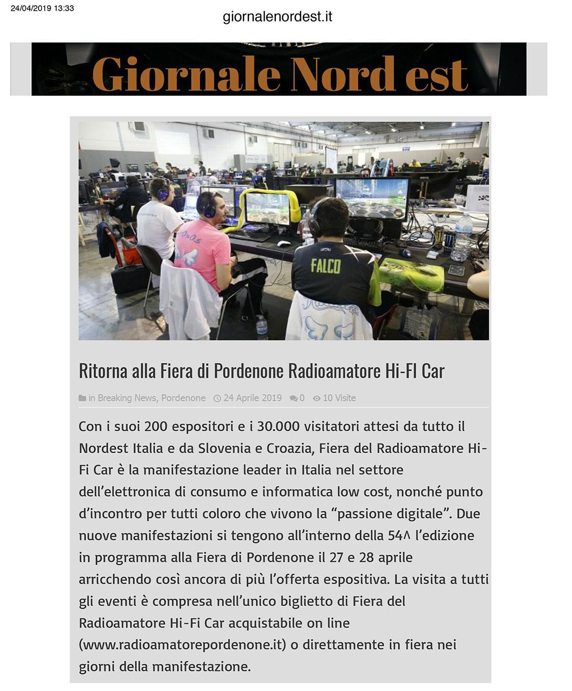 GiornaleNordEst 24052019 Rassegna Stampa Radioamatore Fiera 2019